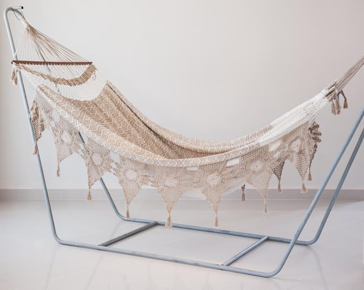 "Hammocks with several handmade finishes. This one in ""macramê""."